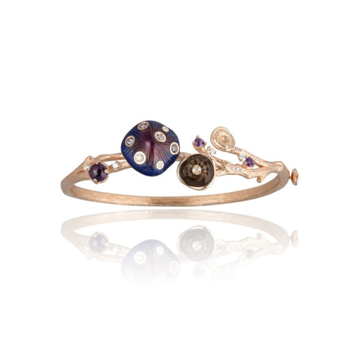 MUSHROOM 18-karat rose gold, quartz and purple enamel bangle - heting-jewellery