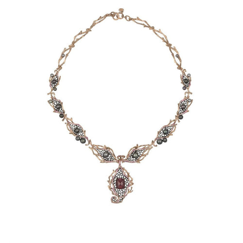 GOLDENBERRY 18 karat rose gold, garnet, pearl, sapphire, diamond necklace - heting-jewellery
