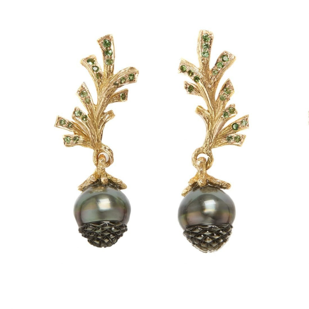 PINECONE 18K yellow gold, black pearl and tsavorites earrings - heting-jewellery