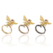 Load image into Gallery viewer, INSECT 18 karat yellow gold, pink tourmaline, black and yellow diamond bee brooch - heting-jewellery