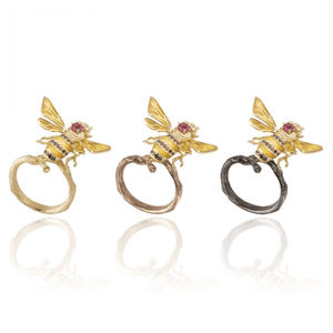 INSECT 18 karat yellow gold, pink tourmaline, black and yellow diamond bee brooch - heting-jewellery