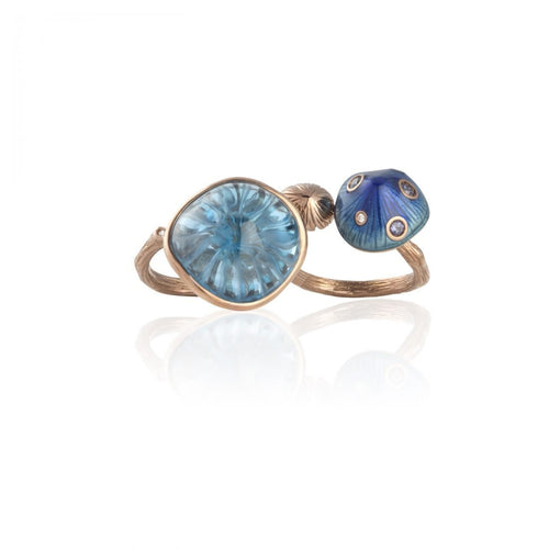 MUSHROOM 18-karat rose gold, diamond, garnet, topaz, blue enamel double ring - heting-jewellery