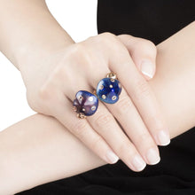 Load image into Gallery viewer, MUSHROOM 18 karat rose gold, garnet, blue enamel diamond ring - heting-jewellery