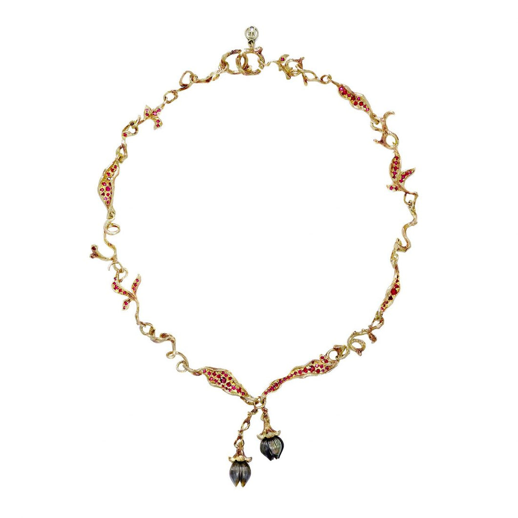 BELLFLOWER 18 karat yellow gold, pearl and ruby necklace - heting-jewellery
