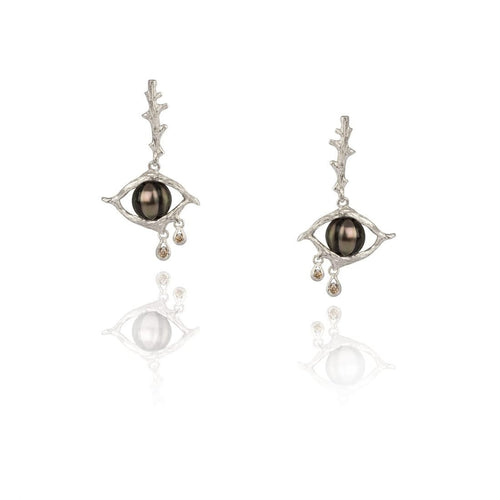 TREE OF LIFE 18K white gold, black pearl and diamond earrings - heting-jewellery