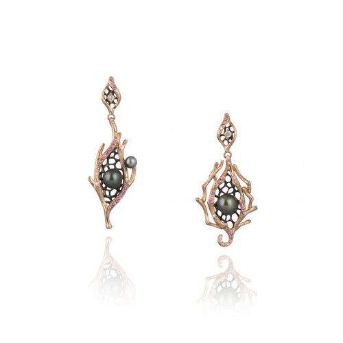 GOLDENBERRY 18 karat rose gold, pearl, sapphire, diamond drop earrings - heting-jewellery