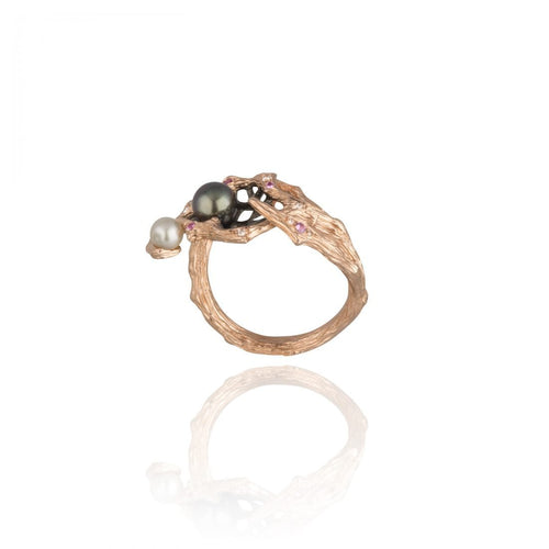 GOLDENBERRY 18 karat rose gold, pearl, sapphire, diamond ring - heting-jewellery