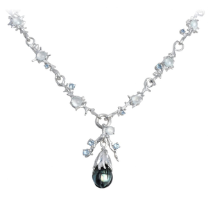 DEWDROP 18 karat white gold, pearl, jade and sapphires necklace - heting-jewellery