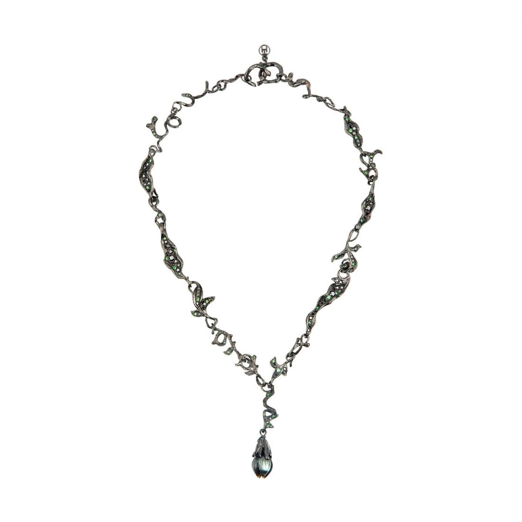 BELLFLOWER 18 karat black rhodium gold, pearl, diamond and tsavorites necklace - heting-jewellery