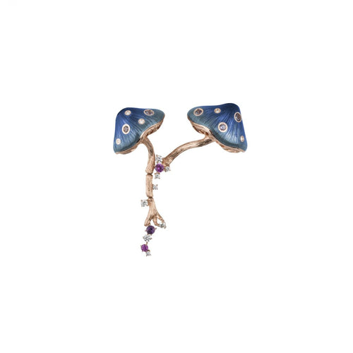 MUSHROOM 18 karat rose gold, garnet, sapphire, amethyst, diamond and blue enamel brooch - heting-jewellery