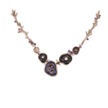 Load image into Gallery viewer, MUSHROOM 18 karat rose gold, amethyst and purple enamel  brooch - heting-jewellery