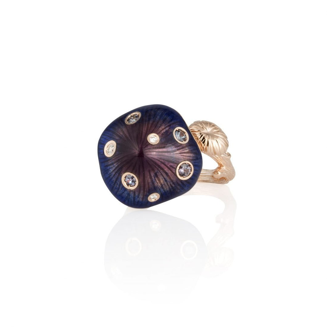 MUSHROOM 18 karat rose gold, garnet, diamond, purple enamel ring - heting-jewellery