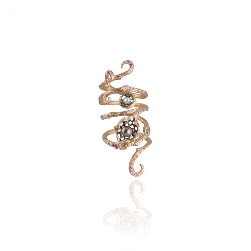 GOLDENBERRY 18 karat rose gold, pearl, sapphire, diamond armour ring - heting-jewellery