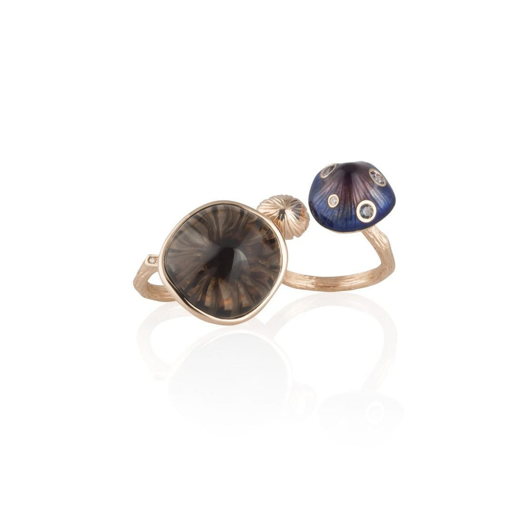 MUSHROOM 18-karat rose gold, quartz, purple enamel double ring - heting-jewellery