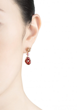 Load image into Gallery viewer, MUSHROOM 18 karat rose gold, diamond, garnet, amethyst, red enamel earrings - heting-jewellery