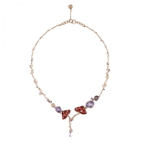 MUSHROOM 18 karats rose gold, sapphire, amethyst, diamond, red enamel necklace - heting-jewellery
