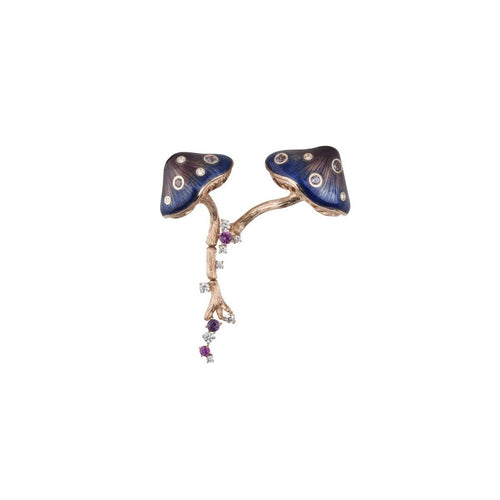 MUSHROOM 18 karat rose gold, garnet, sapphire, amethyst, diamond and purple enamel brooch - heting-jewellery
