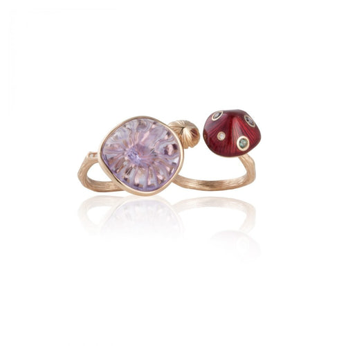 MUSHROOM 18-karat rose gold, diamond, garnet, amethyst, red enamel double ring - heting-jewellery