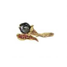 将图片加载到图库查看器,BELLFLOWER 18K yellow gold, black pearl and ruby double ring - heting-jewellery