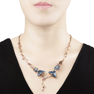 MUSHROOM 18 karats rose gold, topaz, sapphire, diamond, blue enamel necklace - heting-jewellery