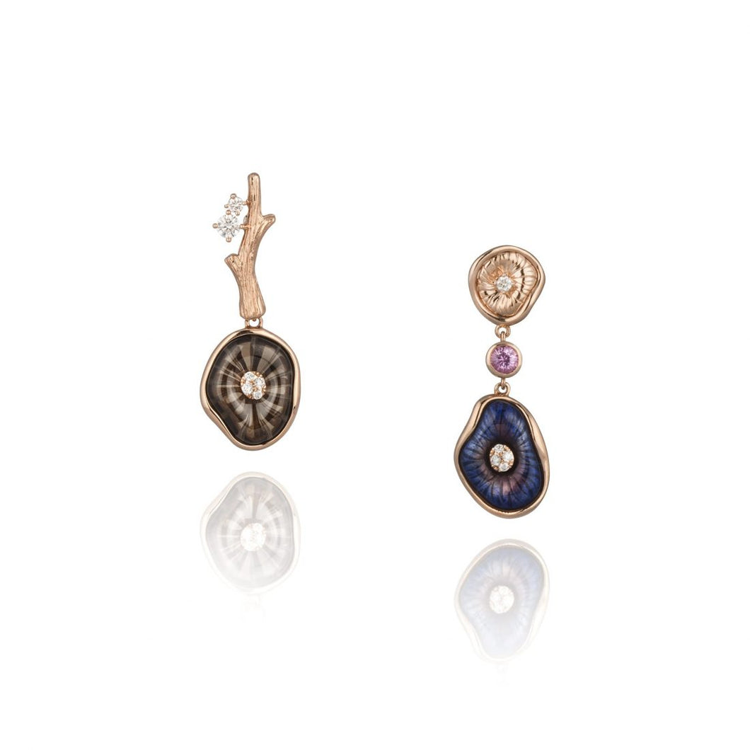 MUSHROOM 18 karat rose gold, diamond, quartz and purple enamel earrings - heting-jewellery