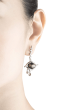 Load image into Gallery viewer, TREE OF LIFE 18K white gold, black pearl and diamond earrings - heting-jewellery
