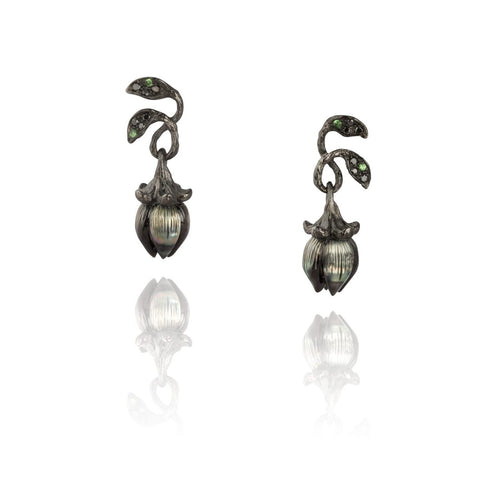 BELLFLOWER 18K black rhodium gold, pearl, diamond and tsavorites earrings - heting-jewellery