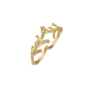 PINECONE 18K yellow gold and tsavorites double ring - heting-jewellery