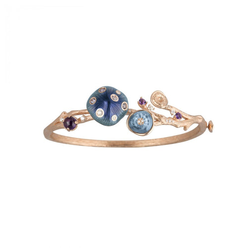 MUSHROOM 18-karat rose gold, topaz, garnet, amethyst, diamond and blue enamel bangle - heting-jewellery