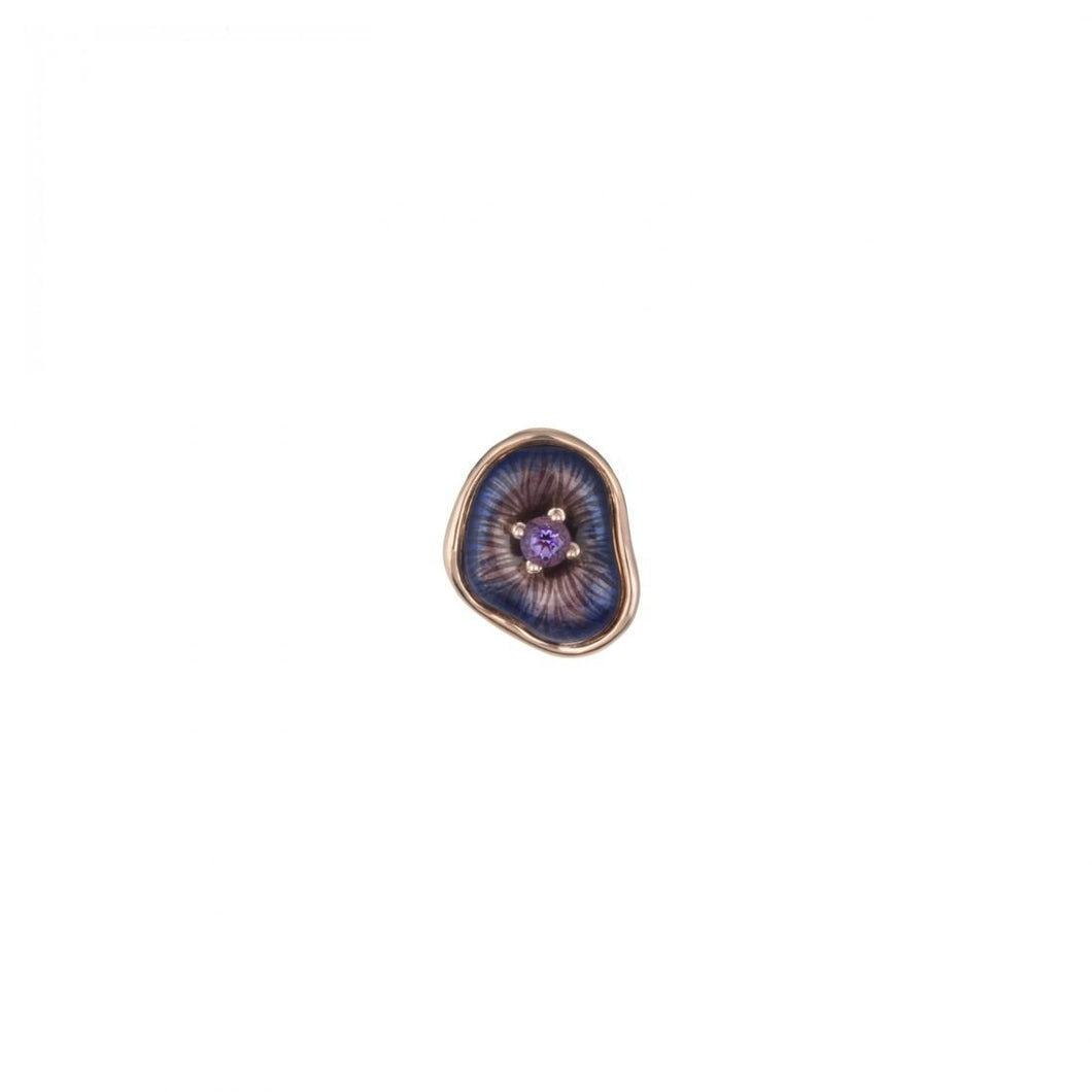 MUSHROOM 18 karat rose gold, amethyst and purple enamel  brooch - heting-jewellery