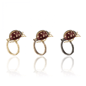 INSECT 18 karat yellow gold, yellow and black diamond lady bird brooch - heting-jewellery