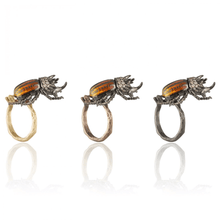 Load image into Gallery viewer, INSECT 18 rhodium black gold, ruby and brown diamond rhinoceros beetle brooch - heting-jewellery