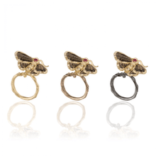 Load image into Gallery viewer, INSECT 18 karat yellow gold, ruby, diamond and quartz moth brooch - heting-jewellery