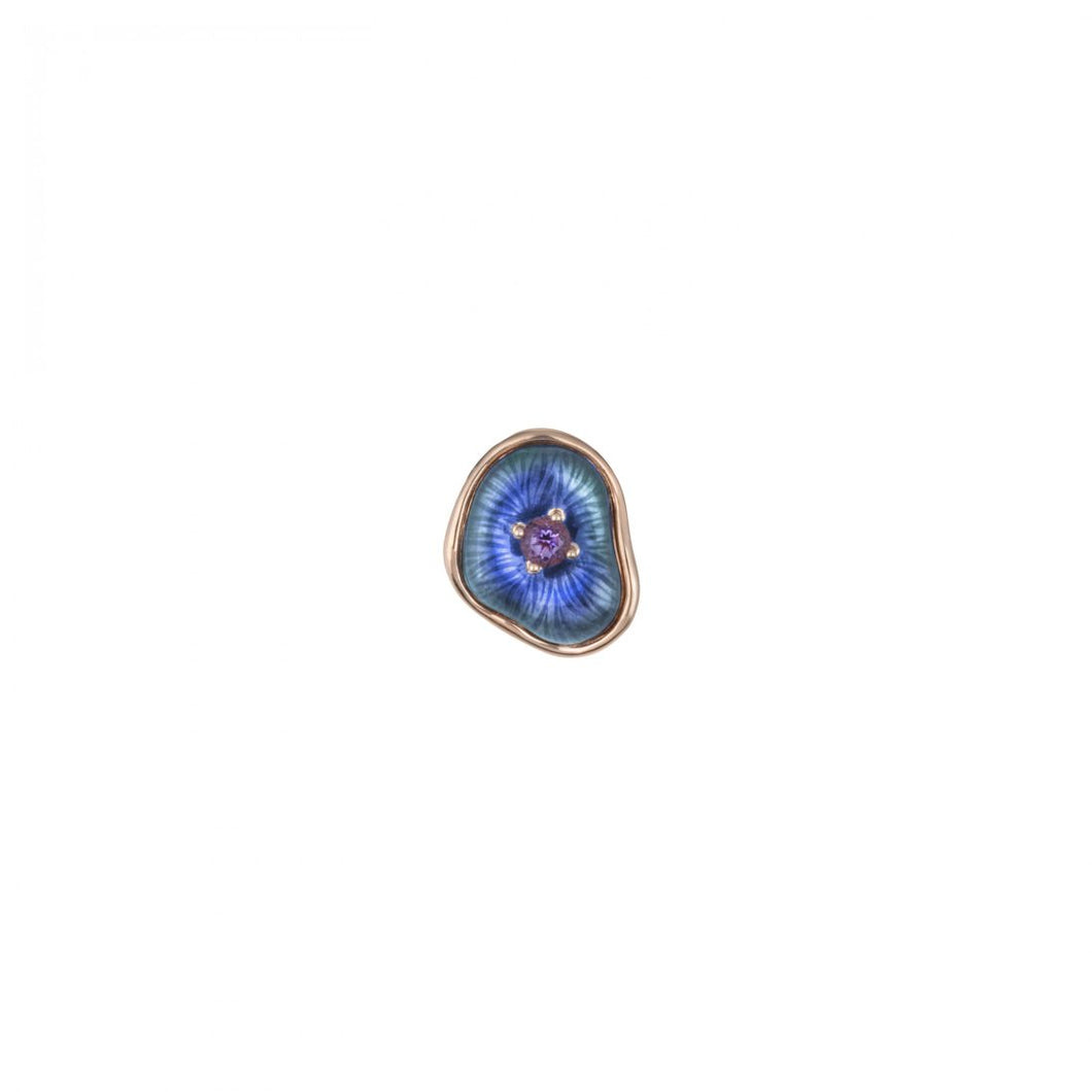 MUSHROOM 18 karat rose gold, amethyst and blue enamel brooch - heting-jewellery