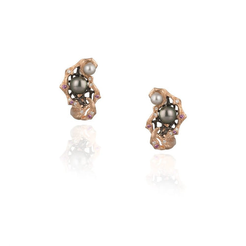 GOLDENBERRY 18 karat rose gold, pearl, sapphire, diamond earrings - heting-jewellery