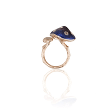 将图片加载到图库查看器,MUSHROOM 18 karat rose gold, garnet, diamond, purple enamel ring - heting-jewellery
