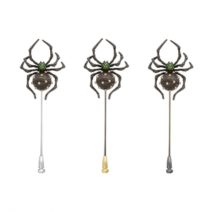 INSECT 18 karat black rhodium gold, gold beads and tsavorites spider brooch - heting-jewellery