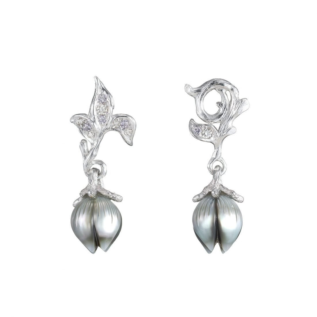 BELLFLOWER 18K white gold, black pearl, diamonds and amethyst earrings - heting-jewellery