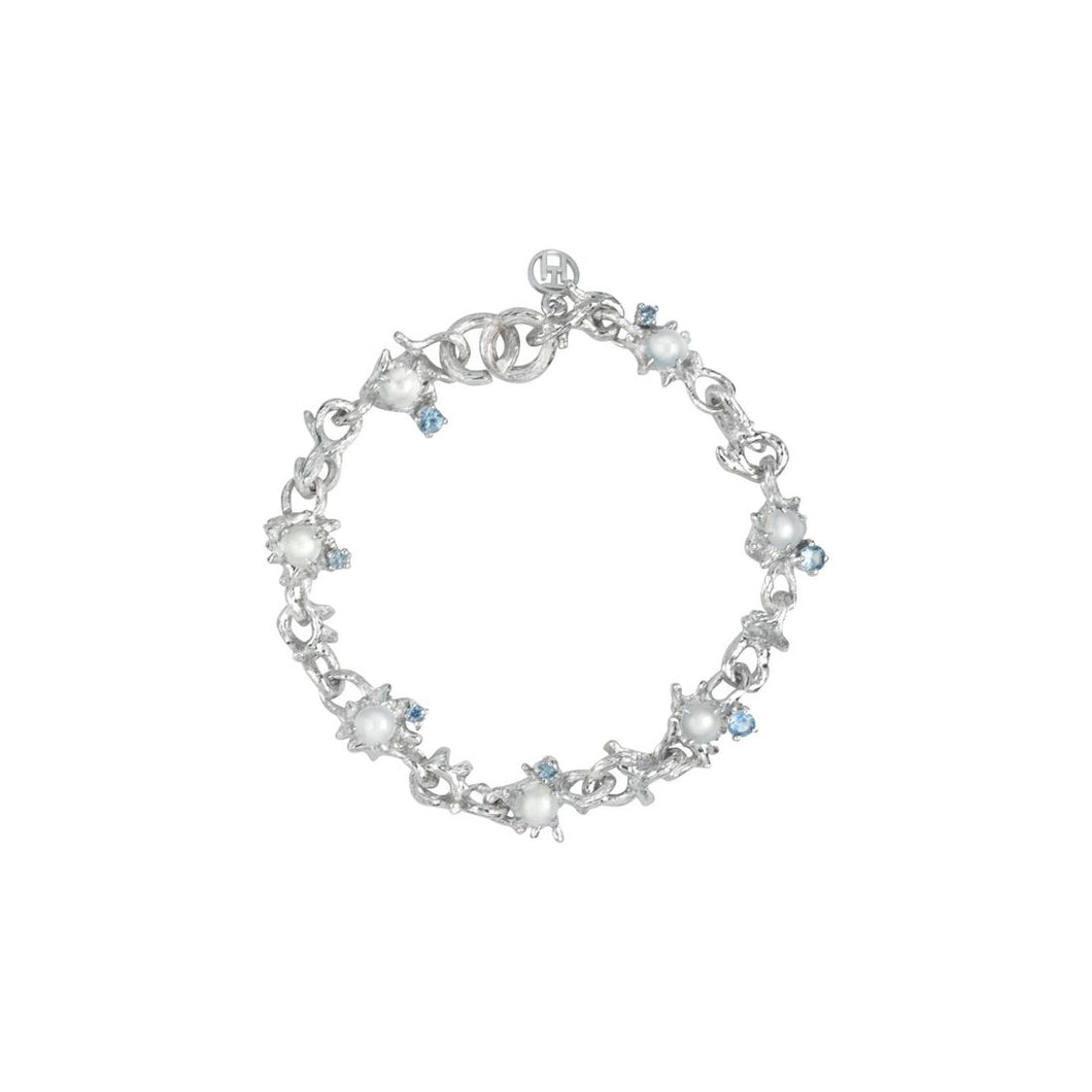 DEWDROP 18-karat white gold, jade cabochons and sapphires bracelet - heting-jewellery