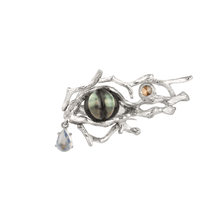Load image into Gallery viewer, TREE OF LIFE 18K white gold, black pearl, sapphires and moonstone ring - heting-jewellery