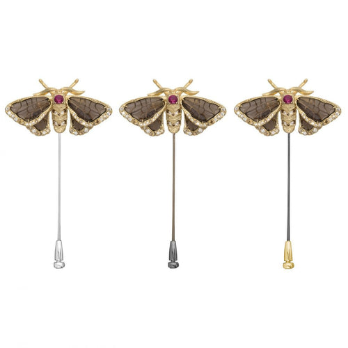 INSECT 18 karat yellow gold, ruby, diamond and quartz moth brooch - heting-jewellery