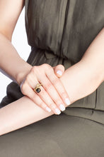 Load image into Gallery viewer, BELLFLOWER 18K gold, black pearl and ruby ring - heting-jewellery