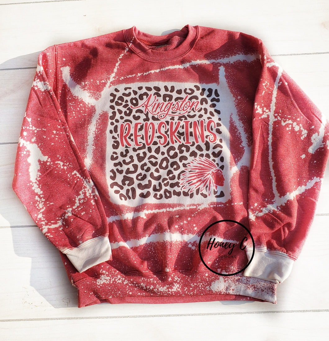 Kingston leopard background w/mascot bleached sweatshirt *red*