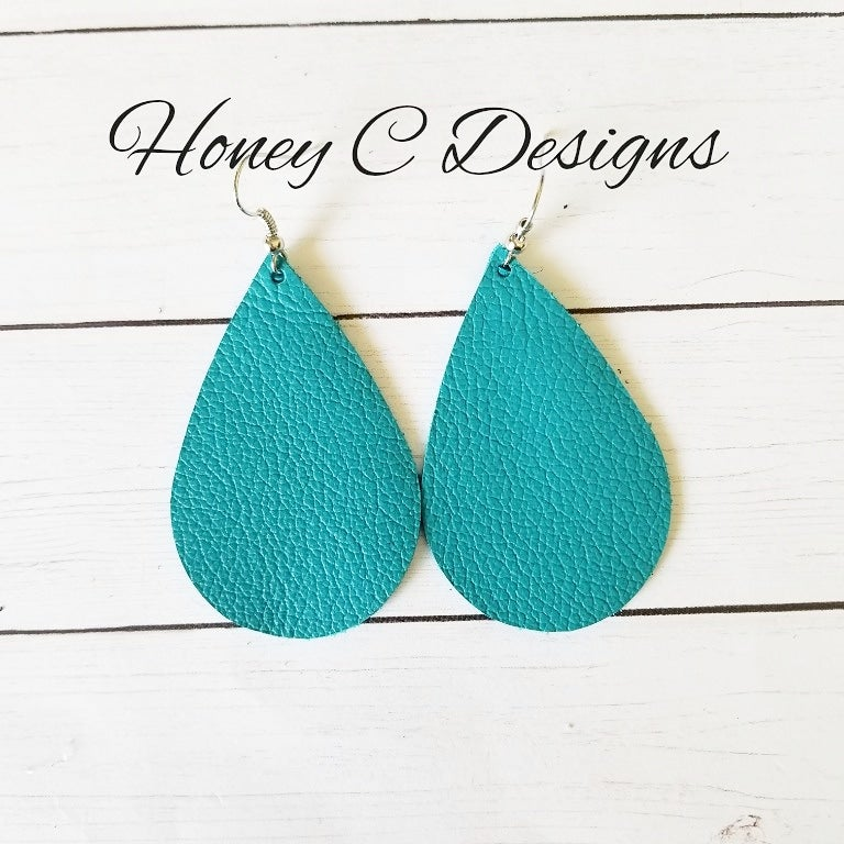Turquoise leather teardrop