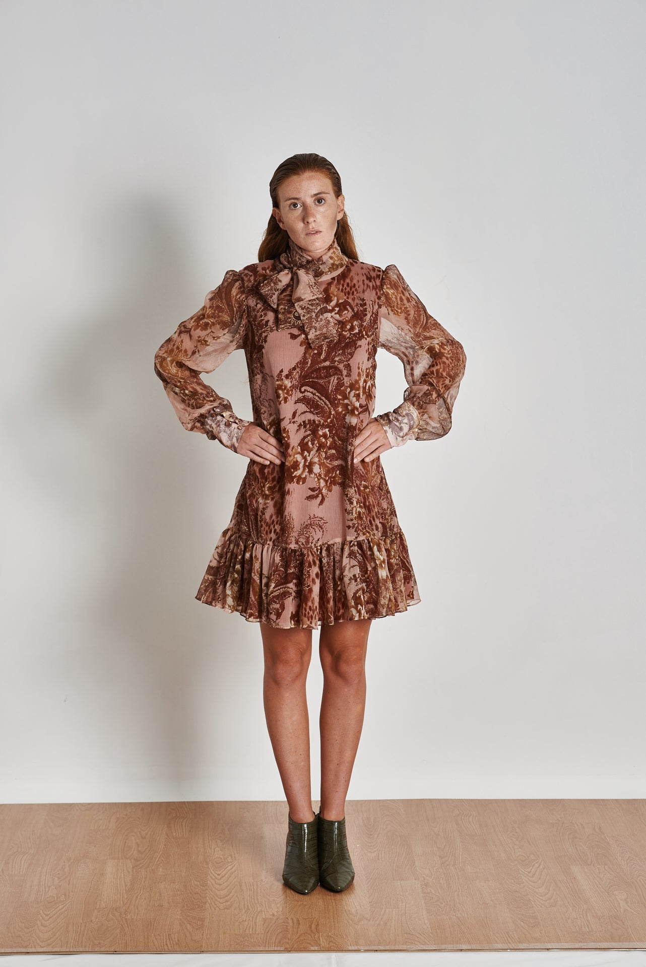 Short Gold Pattern Dress