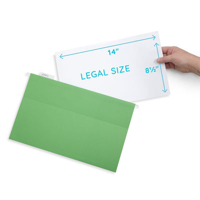 Hanging File Folders, Legal Size, Assorted Colors, 25 Pack Folders Blue Summit Supplies