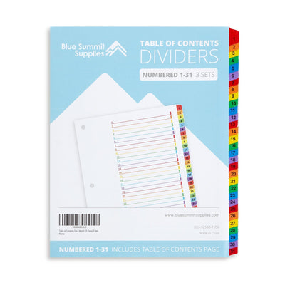 31 Tab Dividers for 3-Ring Binders, 3 Sets Binder Dividers Blue Summit Supplies