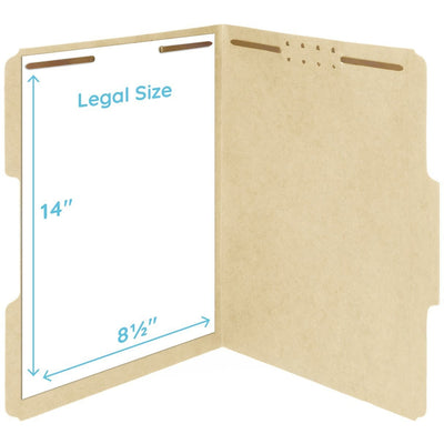 Fastener File Folders, Legal Size, Manila, 50 Pack Folders Blue Summit Supplies