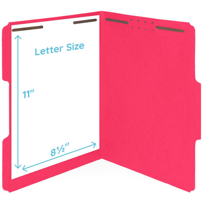 Fastener File Folders, Letter Size, Red, 50 Pack Folders Blue Summit Supplies