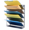 Blue Summit Supplies Wall Mount File Organizer, 5 File Pockets, Letter Size, Metal Mesh, Black, 1-Pack